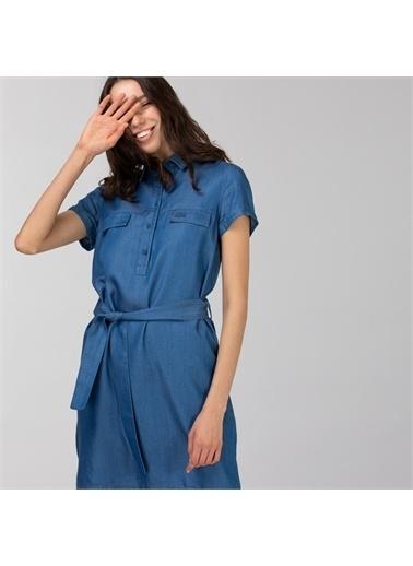 Lacoste Lacoste Kadın Kısa Kollu Gömlek Yaka Açık Denim Elbise Lacivert